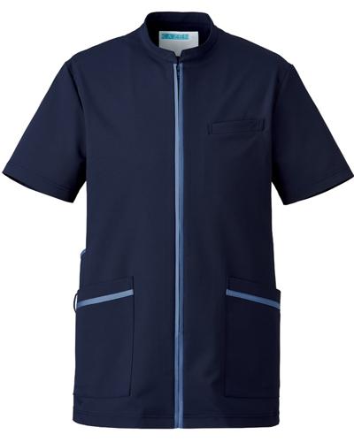 [カゼン] KAZEN 【美しいシルエットと知的なデザインが魅力】  メンズ ジャケット 781-48 (ネイビー×スモーキーブルー)