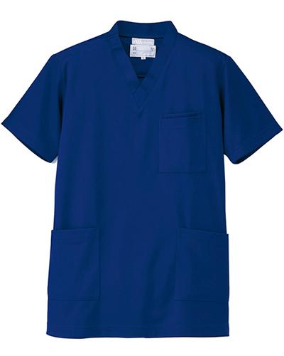 [ルミエール] Lumiere 【格安ニットスクラブ/医療白衣】男女兼用 ニットスクラブ 861401 (ブルー)