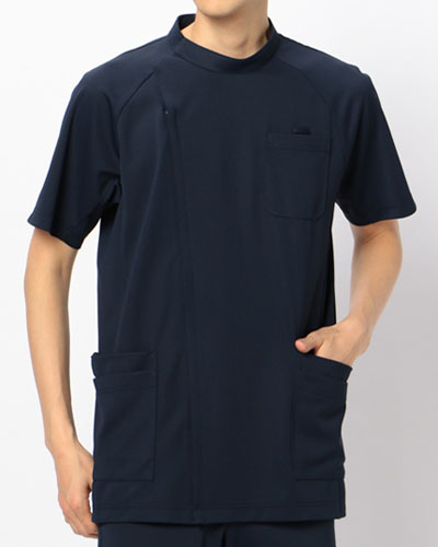 [カゼン] KAZEN 【かつてない動きやすさのニットジャケット】 メンズ ジャケット 半袖 982-48 (ネイビー)