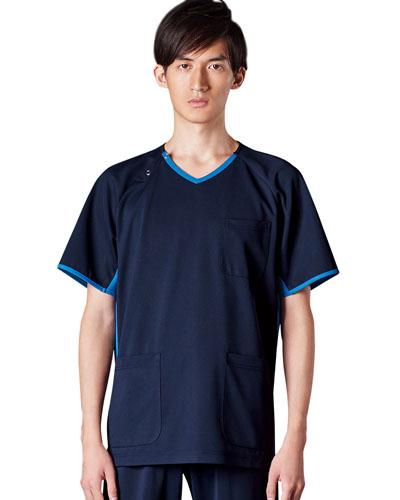 [カゼン] KAZEN 【かつてない動きやすさのニットスクラブ】  男女兼用 スクラブ 983-11 (ネイビー×ブルー)