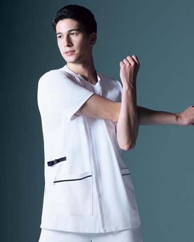 [カゼン] KAZEN 【かつてない動きやすさのニットジャケット】 メンズ スクラブ ジャケット 半袖 984-18 (ホワイト×ネイビー)
