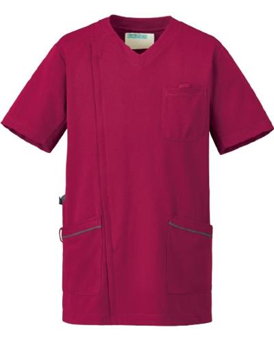 [カゼン] KAZEN 【かつてない動きやすさのニットジャケット】 メンズ スクラブ ジャケット 半袖 984-45 (プラム×グレー)