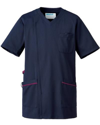 [カゼン] KAZEN 【かつてない動きやすさのニットジャケット】 メンズ スクラブ ジャケット 半袖 984-48 (ネイビー×プラム)
