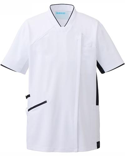 [カゼン] KAZEN 【かつてない動きやすさのスクラブ / 工業洗濯対応】  男女兼用 スクラブ ジャケット 987-18 (ホワイト×ネイビー)