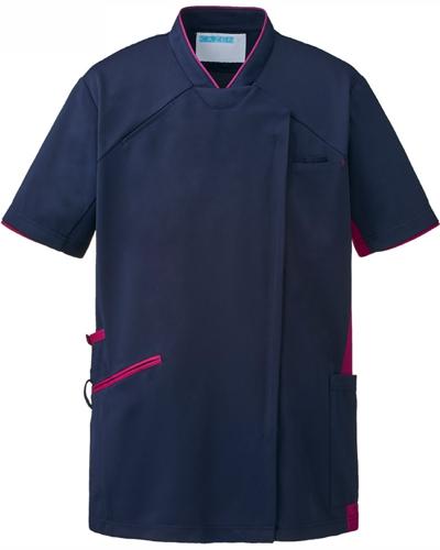[カゼン] KAZEN 【かつてない動きやすさのスクラブ / 工業洗濯対応】  男女兼用 スクラブ ジャケット 987-48 (ネイビー×プラム)
