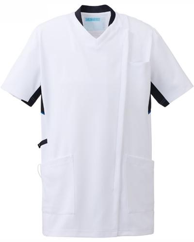 [カゼン] KAZEN 【かつてない動きやすさのスクラブ / 工業洗濯対応】  男女兼用 スクラブ ジャケット 988-18 (ホワイト×ネイビー)