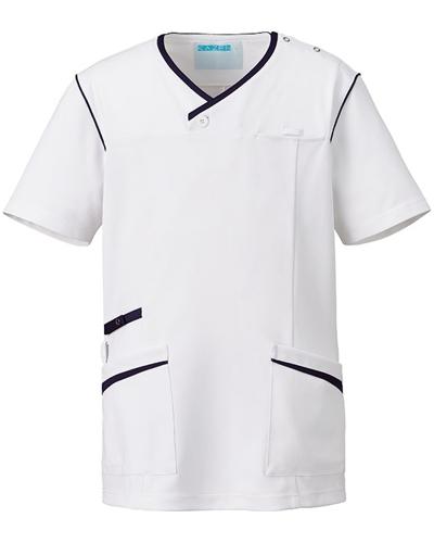 [カゼン] KAZEN 【かつてない動きやすさのニットスクラブ】  メンズ スクラブ 991-18 (ホワイト×ネイビー)