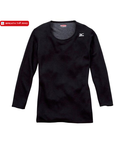 [ミズノ] MIZUNO 【ウィンタースポーツにも ブレスサーモ ミドルウェイト 中厚 インナー】 女性用 ミドルウェイト・ラウンドネック8分袖シャツ A2JA5711-09 (ブラック)