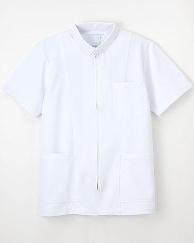 [ナガイレーベン] NAGAILEBEN 【着用しやすいファスナー開きのボタンダウンの新しいスクラブ】メンズ 上衣 HO-1957 (ホワイト)