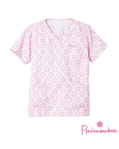 [プリムヴェール] Primevere 【華やかな花柄が可愛いスクラブ/医療白衣】 女性用  スクラブ CDP-401 (ピンク)