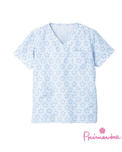 [プリムヴェール] Primevere 【華やかな花柄が可愛いスクラブ/医療白衣】 女性用  スクラブ CDP-401 (サックス)