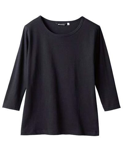[モンブラン] MONTBLANC 【着心地良く素肌に優しいインナー】 男女兼用 Tシャツ(8分袖) CE423-1(ブラック)