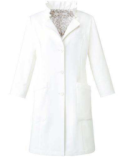 [キャララ] Calala 【さりげないヒョウ柄の裏地で高級感のあるコート】 レディース ドクターコート CL-0209 (ホワイト)