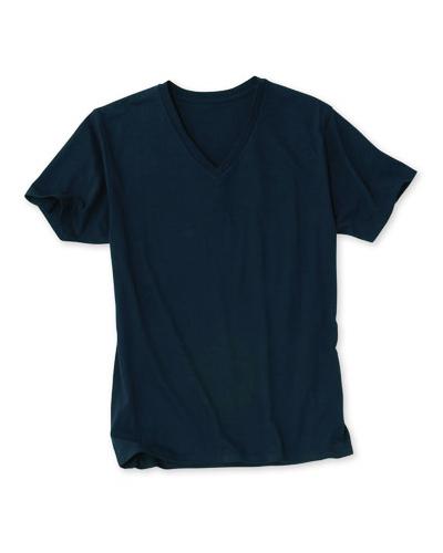 [ダルク] DALUC 【ファッショナブルな仕様のインナー】 男性用 VネックTシャツ DM302 (ブラック)