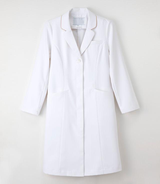[ナガイレーベン] NAGAILEBEN 【襟のパイピングが優しい印象を与えるドクターコート】 女性用 ドクターコート EH-3710 (ホワイト)