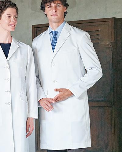 [ナガイレーベン] NAGAILEBEN 【ドクターウェアの頂点4D+】 男性用 シングルドクターコート(Y体・細身サイズ) FD-4000 (ホワイト)