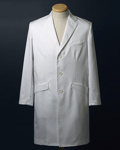 [ナガイレーベン] NAGAILEBEN 【ドクターウェアの頂点4D+】 男性用 シングルドクターコート(AB体・ゆったりサイズ) FD-4020 (ホワイト)