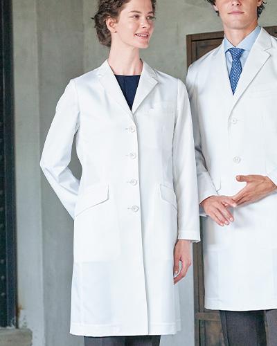 [ナガイレーベン] NAGAILEBEN 【ドクターウェアの頂点4D+】 女性用 シングルドクターコート FD-4040 (ホワイト)