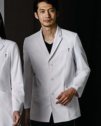 [ジュンココシノ] JUNKO KOSHINO 【高級感のある素材とディテールにこだわったドクターコート】 メンズ ドクターコート(ショート丈) JK192-11(ホワイト)