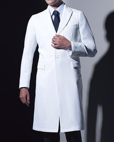 [カゼン] KAZEN 【品格を映すシックな立ち姿の診察衣】 メンズ 診察衣 KZN209-10 (ホワイト)