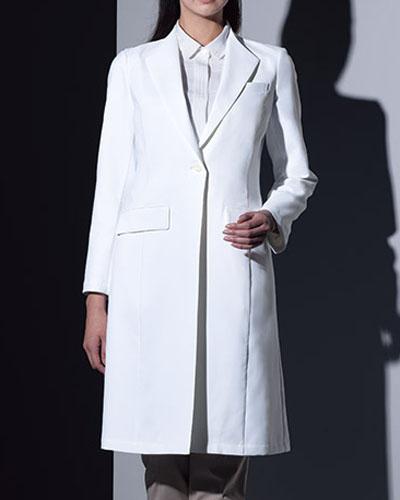 [カゼン] KAZEN 【品格を映すシックな立ち姿の診察衣】 レディース 診察衣 KZN409-10 (ホワイト)