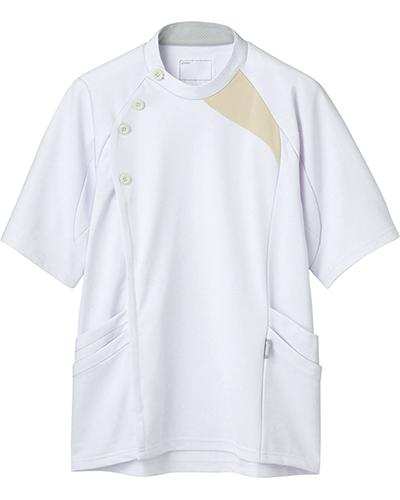 [アシックス] asics 【立体裁断でスムーズな動きを実現した医療ジャケット】 メンズ ジャケット LKM501-0105(ホワイト×ベージュ)