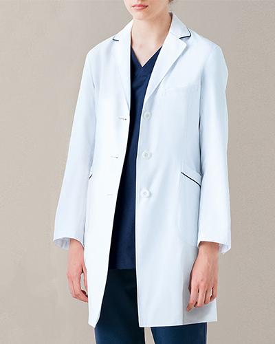 [ミズノ] MIZUNO 【パイピングラインがお洒落なドクターコート】 レディース ドクターコート MZ-0107   (ホワイト)
