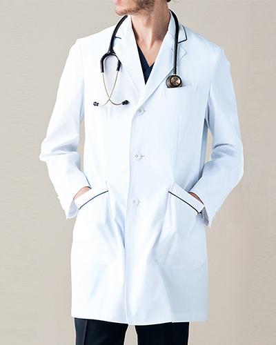 [ミズノ] MIZUNO 【パイピングラインがお洒落なドクターコート】 メンズ ドクターコート MZ-0108  (ホワイト)