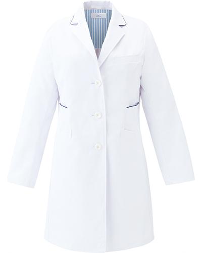 [ミズノ] MIZUNO 【二段の両脇ポケットで収納性抜群のドクターコート】 レディース ドクターコート MZ-0136   (ホワイト×ネイビー)
