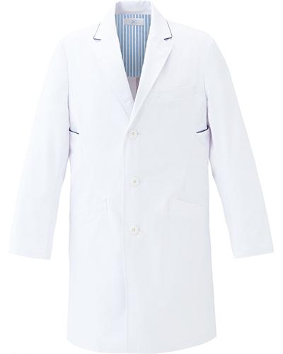 [ミズノ] MIZUNO 【二段の両脇ポケットで収納性抜群のドクターコート】 メンズ ドクターコート MZ-0137  (ホワイト×ネイビー)