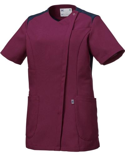 [ミズノ] MIZUNO 【ツートンカラーがスタイリッシュなスクラブジャケット】 女性用 ジャケット MZ-0165 (ワイン)