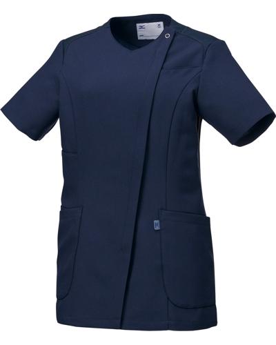 [ミズノ] MIZUNO 【ツートンカラーがスタイリッシュなスクラブジャケット】 女性用 ジャケット MZ-0165 (ネイビー)