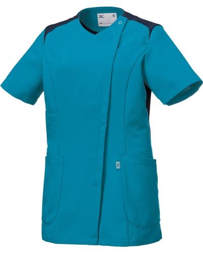 [ミズノ] MIZUNO 【ツートンカラーがスタイリッシュなスクラブジャケット】 女性用 ジャケット MZ-0165 (ターコイズ)
