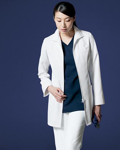 [リゼルヴァ]  RISERVA 【フロントジップ式ドクタージャケット】 女性用 長袖ドクタージャケット R2641 (ホワイト)