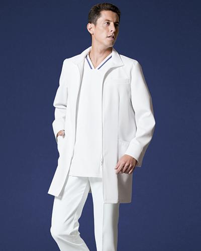 [リゼルヴァ]  RISERVA 【フロントジップ式ドクタージャケット】 男性用 長袖ドクタージャケット R2691 (ホワイト)