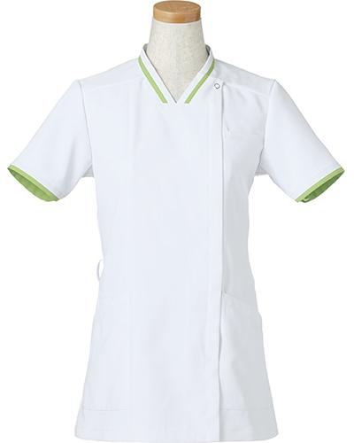 [リゼルヴァ]  RISERVA 【清涼感のあるホワイトにアクセントの配色がお洒落なスクラブ】 女性用 スクラブジャケット R8642 (ライム)
