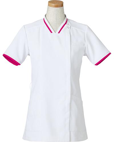 [リゼルヴァ]  RISERVA 【清涼感のあるホワイトにアクセントの配色がお洒落なスクラブ】 女性用 スクラブジャケット R8642 (マゼンタ)