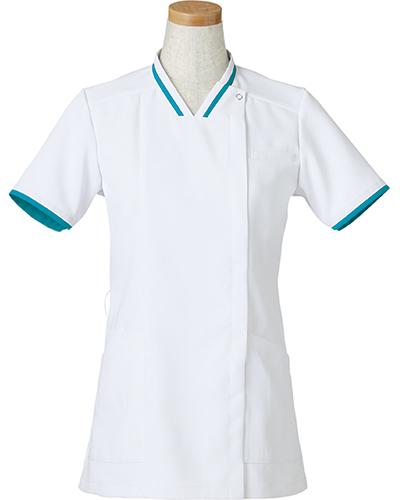 [リゼルヴァ]  RISERVA 【清涼感のあるホワイトにアクセントの配色がお洒落なスクラブ】 女性用 スクラブジャケット R8642 (ターコイズ)