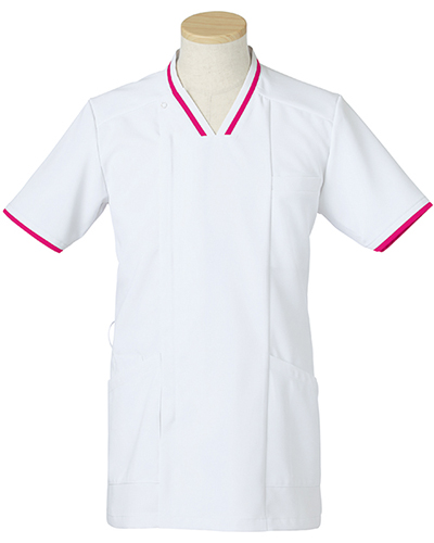 [リゼルヴァ]  RISERVA 【清涼感のあるホワイトにアクセントの配色がお洒落なスクラブ】 男性用 スクラブジャケット R8692 (マゼンタ)
