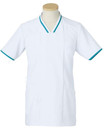 [リゼルヴァ]  RISERVA 【清涼感のあるホワイトにアクセントの配色がお洒落なスクラブ】 男性用 スクラブジャケット R8692 (ターコイズ)