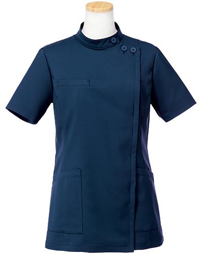 [リゼルヴァ]  RISERVA 【品のあるスタンダードなデザインのケーシー白衣】 女性用 ケーシージャケット R8746 (ダークネイビー)