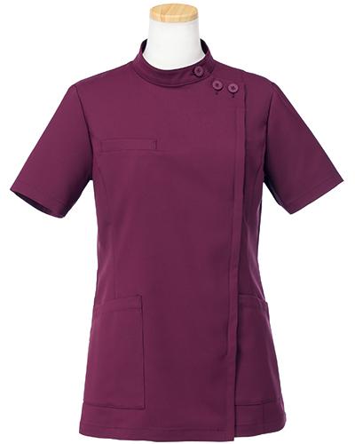 [リゼルヴァ]  RISERVA 【品のあるスタンダードなデザインのケーシー白衣】 女性用 ケーシージャケット R8746 (ワイン)