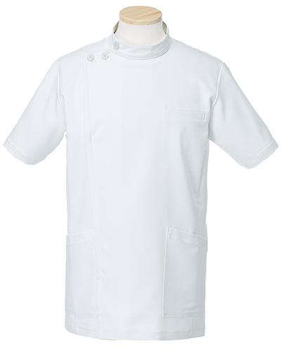 [リゼルヴァ]  RISERVA 【品のあるスタンダードなデザインのケーシー白衣】 男性用 ケーシージャケット R8796 (ホワイト)