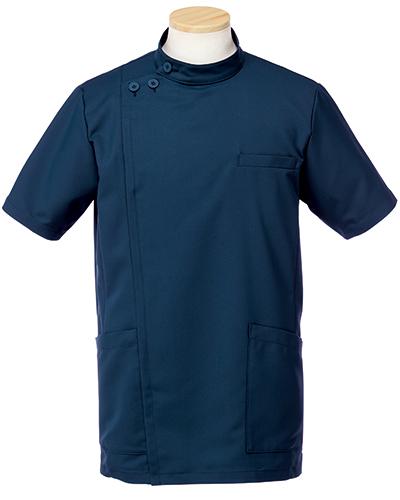 [リゼルヴァ]  RISERVA 【品のあるスタンダードなデザインのケーシー白衣】 男性用 ケーシージャケット R8796 (ダークネイビー)