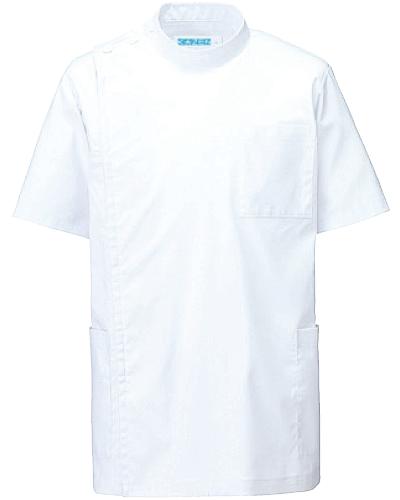 [カゼン] KAZEN 【抗菌・抗ウイルス機能採用の快適なストレッチ素材】 メンズ 医務衣 半袖 REP100-10 (ホワイト)