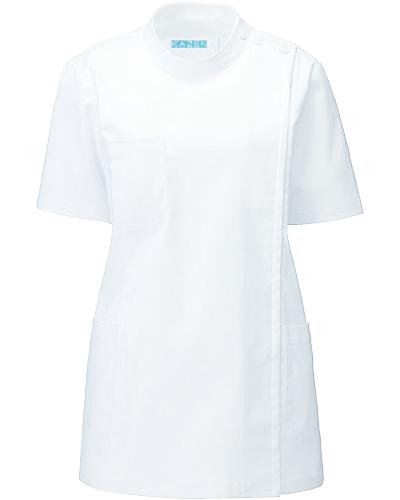 [カゼン] KAZEN 【抗菌・抗ウイルス機能採用の快適なストレッチ素材】 レディース 医務衣 半袖 REP105-10 (ホワイト)