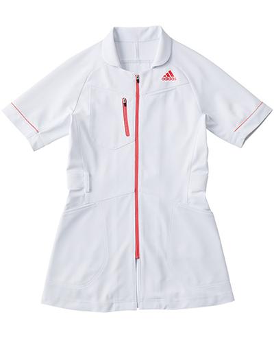 [アディダス] adidas 【カッティングにこだわったアクティブなデザインの医療ジャケット】 レディース ジャケット SMS004-15 (ホワイト×ピンク)
