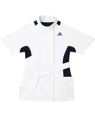 [アディダス] adidas 【ファッション性、動きやすさ、実用性を融合したメディカルウェア】 レディース ジャケット SMS007-18 (ホワイト×ネイビー)