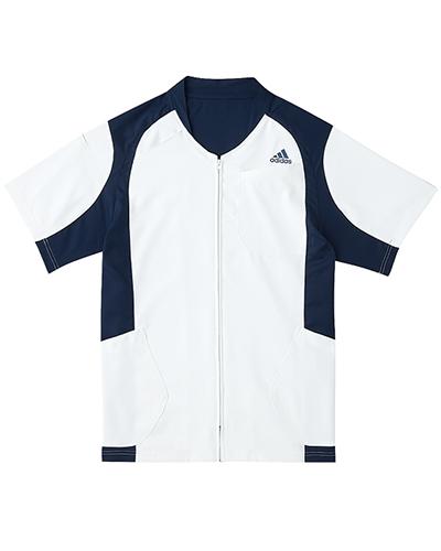 [アディダス] adidas 【着替えが容易な前開きスクラブジャケット】 男女兼用 ジャケット SMS120-10 (ホワイト×ネイビー)