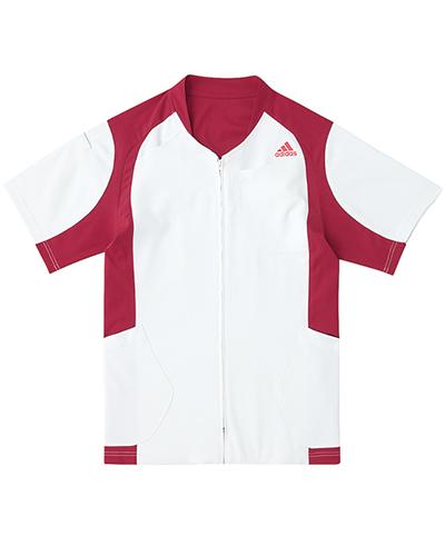 [アディダス] adidas 【着替えが容易な前開きスクラブジャケット】 男女兼用 ジャケット SMS120-15 (ホワイト×バーガンディ)